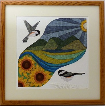 Quilled Chickadees Landscape