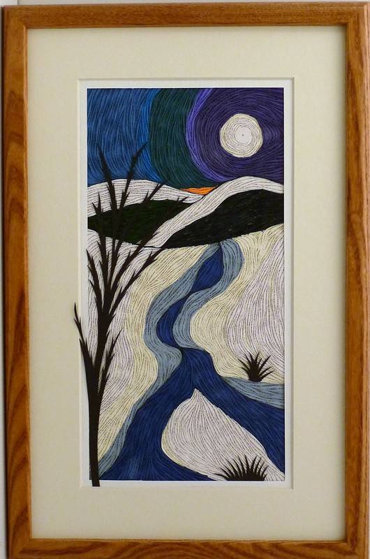 Quilled Snowy Moonlit Night